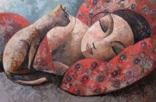 Väsynyt nainen lepää