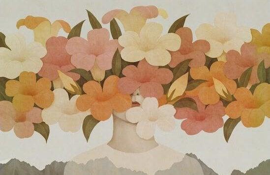 kukat naisen kasvojen edessä