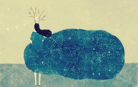naisen mekko on pilvi