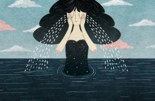 nainen itkee kokonaisen meren