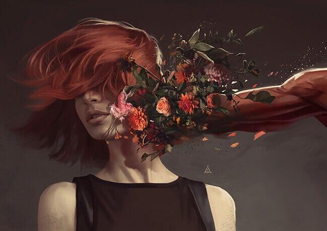 kukkakäsi lyö naista