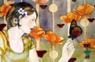 nainen ja perhonen