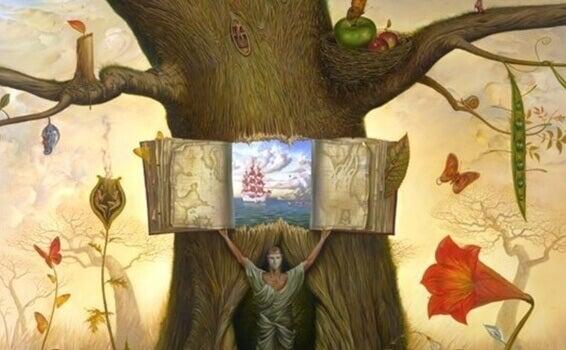 puun rungosta avautuu kirja