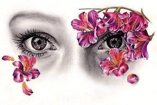 kukat ympäröivät silmiä