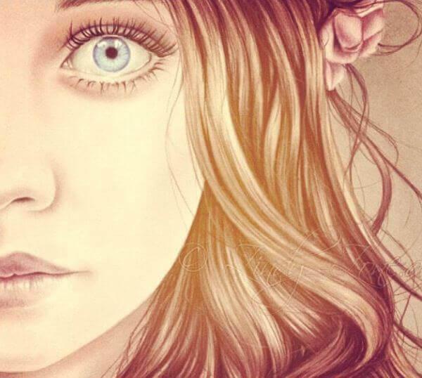 tytöllä suuret silmät
