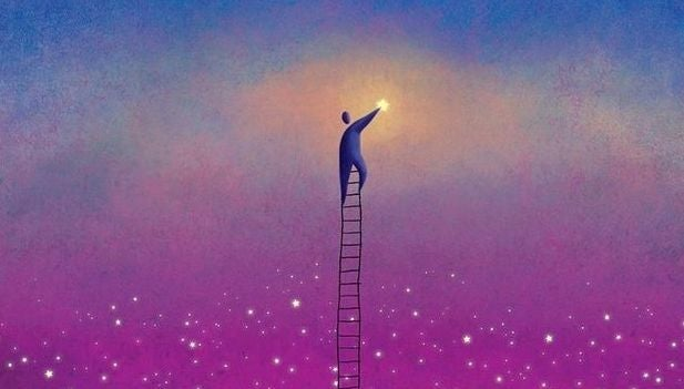 myönteiset ihmiset kurkottelevat tähtiin
