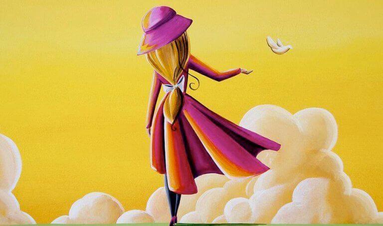 tyttö kulkee pilvissä