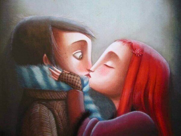 tytön ja pojan suudelma
