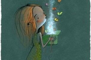 tytön laatikosta tulee ulos perhosia