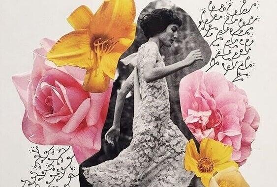 mustavalkoinen nainen värikkäiden kukkien keskellä
