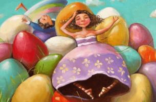 tyttö ja poika kananmunakasan päällä