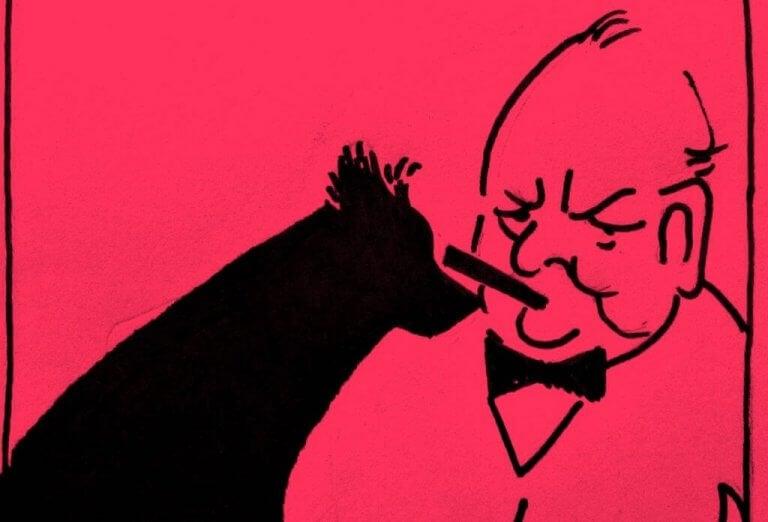 winston churchill ja negatiivisten tunteiden musta koira