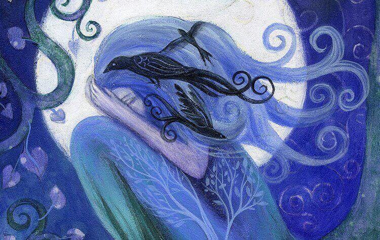 sinihiuksinen tyttö ja lintu