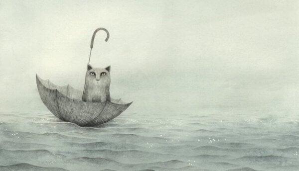 kissa purjehtii sateenvarjolla