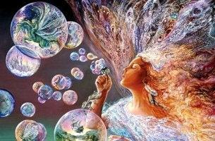 nainen puhaltaa kuplia