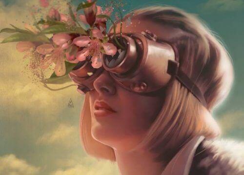 tytöllä kukkia silmälaseissa
