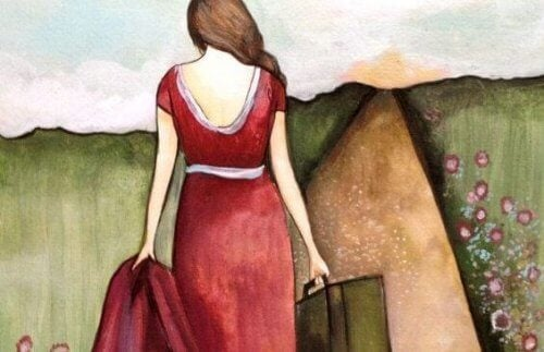 nainen matkalla
