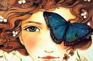 naisella perhonen kasvoillaan