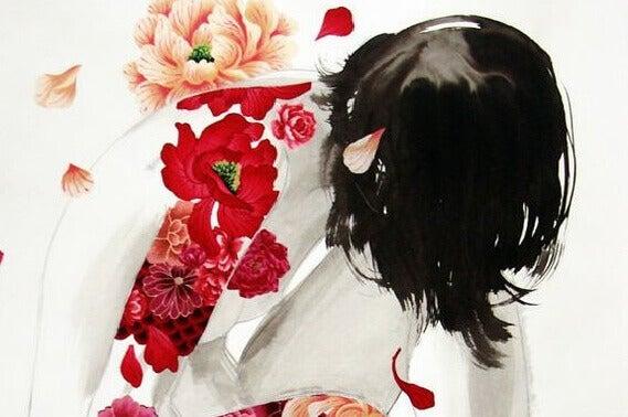 kukat naisen käsivarressa