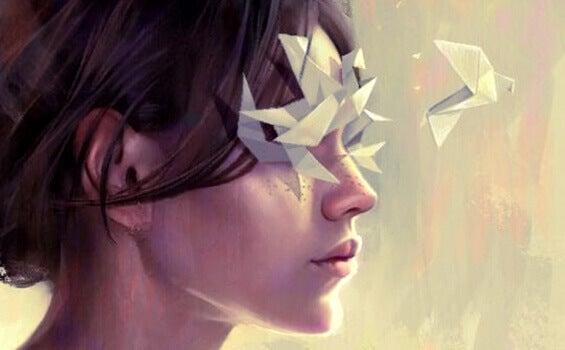 tyttö ja origamit