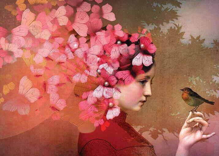 naisella perhosia päässään