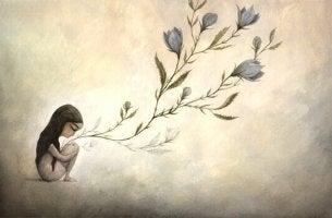 tytössä kasvaa kukkia