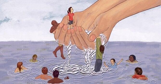 isot kädet pelastavat uimareita