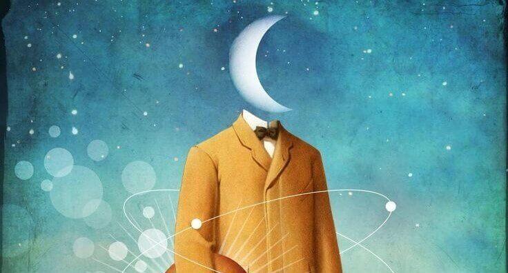 miehen pää on kuu