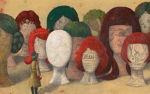 peruukit ja päät ilman kasvoja