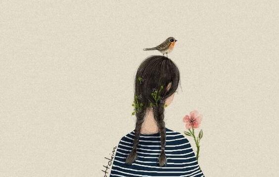 tytöllä kukka ja lintu