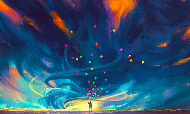värikäs taivas ja värikkäät ilmapallot