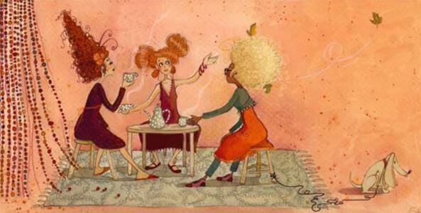 naiset teekutsuilla