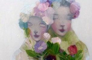 rauhalliset naiset ja kukat