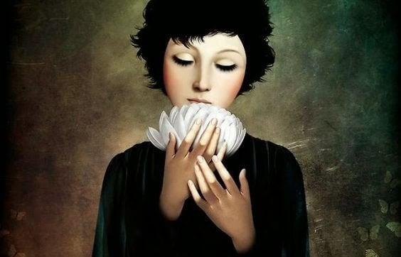 nainen ja lotuskukka