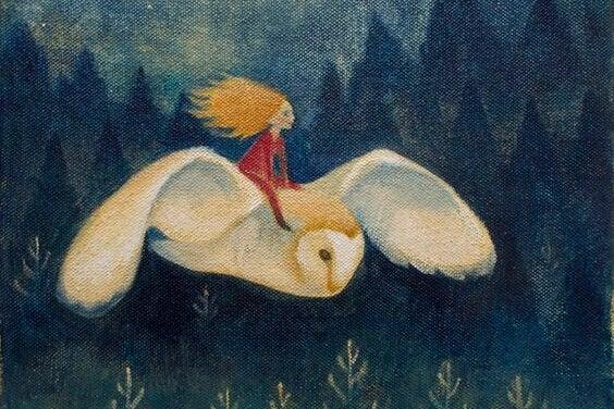 tyttö lentää pöllön selässä