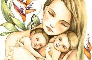 äiti ja kaksoset