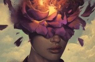 naisen pää on kukka