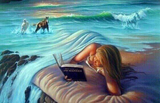 nainen lukee sängyssään joka on vesiputous