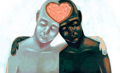 kaksi ihmistä jakaa sydämen ja aivot