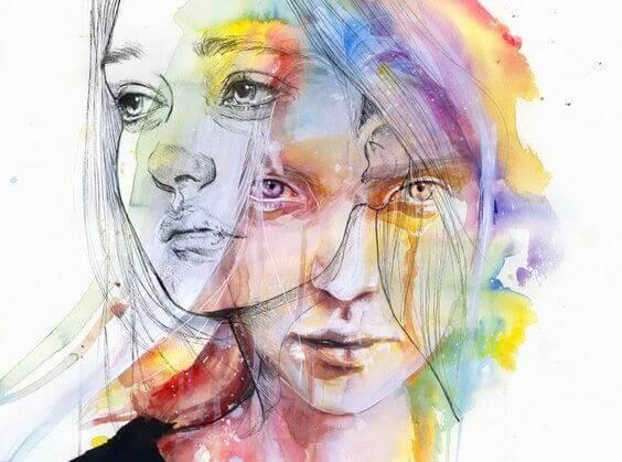 värikkäät mies ja nainen