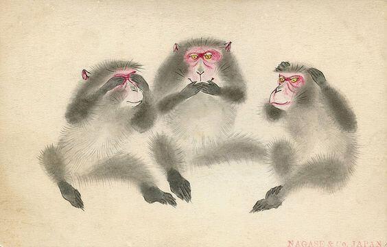 Opetus Toshogu-pyhäkön kolmesta viisaasta apinasta