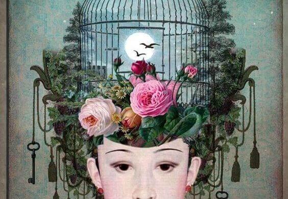 naisen päässä lintuhäkki