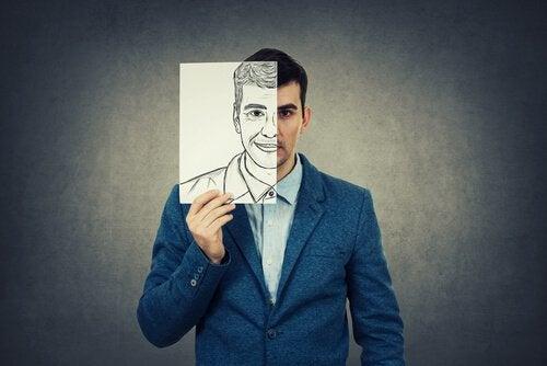 miehen kasvoista toinen puolikas on piirretty