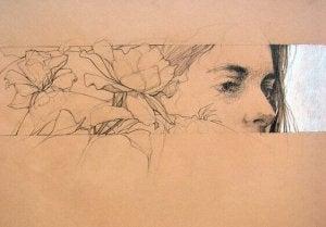 naisen kasvot ja kukat