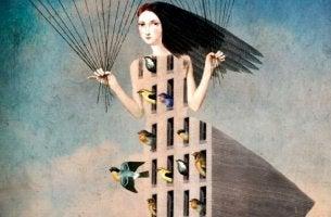 naisen mekko on koti linnuille