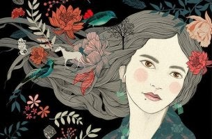 naisen hiuksissa kukkia ja hevonen