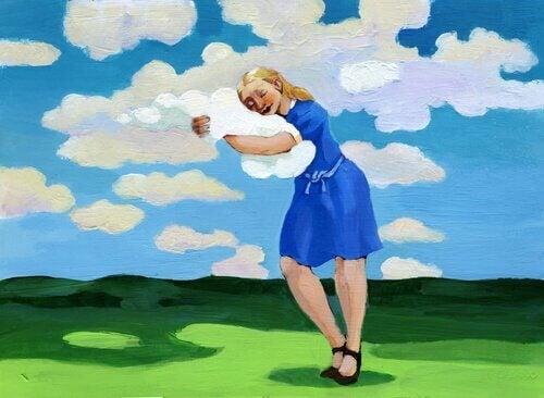 nainen halaa pilveä