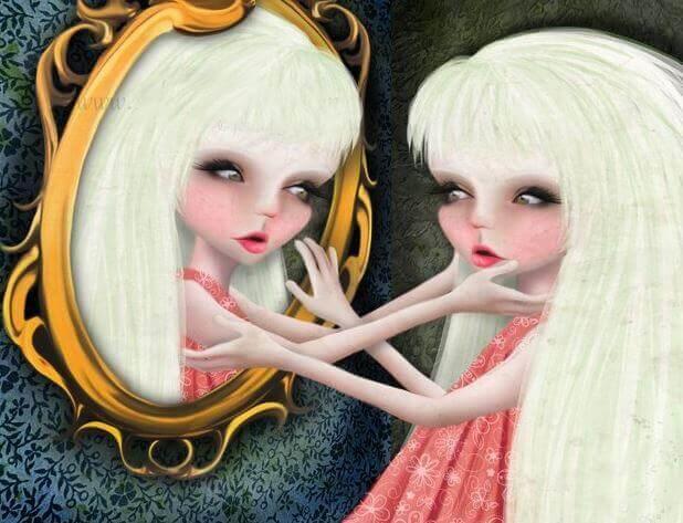 tyttö katsoo ja koskee itseään peilistä