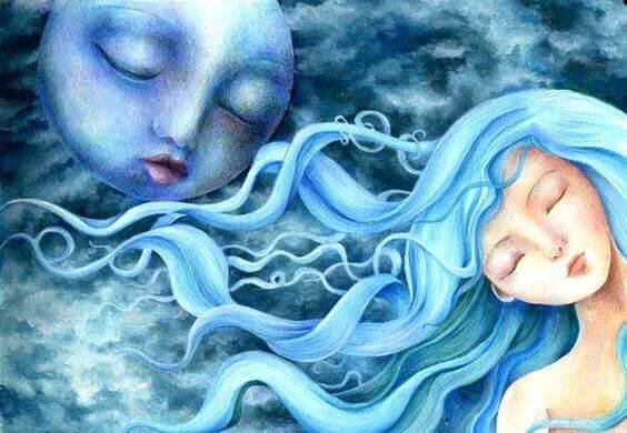 tyttö ja kuu nukkuvat