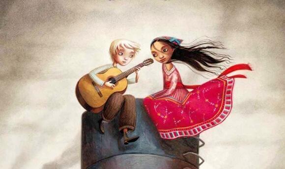 poika soittaa kitaraa tytölle